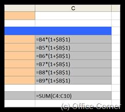 Show Values - Excel Formula Auditing Tools