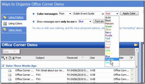 Choose Using Colors in the Organize pane and set the rule to suit - Format all messages from a sender in a different colour – automatically – in Outlook