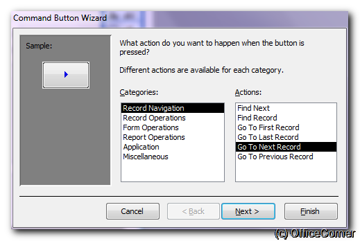 Choose Go to Next Record in the Record Navigation category - Command Button Wizard step 1 - Make Microsoft Access forms more user-friendly with big navigation controls