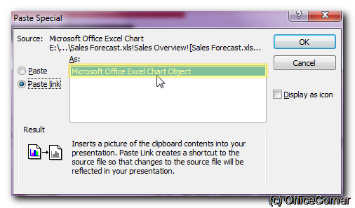 Choose Paste Link in the Paste Special Dialog - Get Excel charts and tables always up to date in your Microsoft PowerPoint presentation