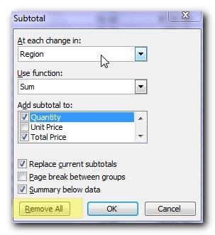 Remove subtotals - Super easy subtotals in a Microsoft Excel database