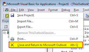 Outlook VBA menu: Close and Return to Outlook in the File menu