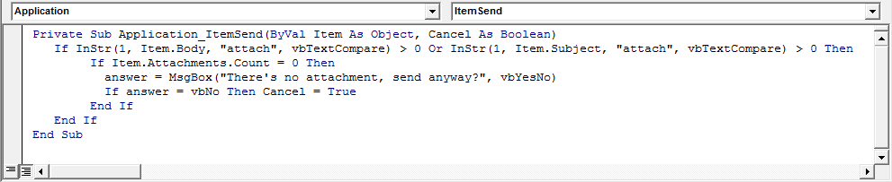 Outlook VBA Code Window Check for missing attachments in Body or Subject