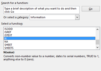 Excel Insert Function dialog showing the N function