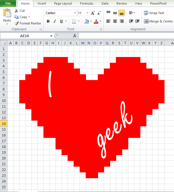 "A heart made up of red cells in Excel gridline with the words ""I heart geek"""