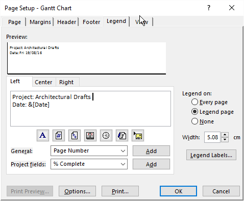 Page Setup Options for the Gantt Chart